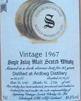 Ardbeg vintage 1967 botteling by Signatory the label