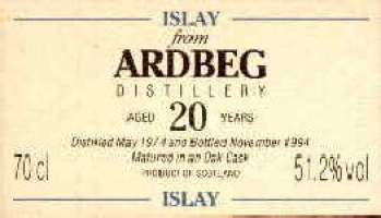 Ardbeg 20 years old - The label