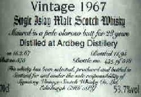 Ardbeg Vintage 1967 - The label