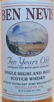 Ben Nevis 10 years old vintage 1986 label