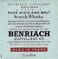 Benriach 10 years old Pure Scotch Highland malt whisky - label