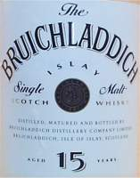 Bruichladdich 15 years old label