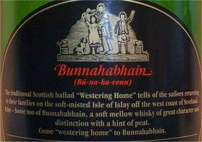 Bunnahabhain 12 years old the back of the bottle / label