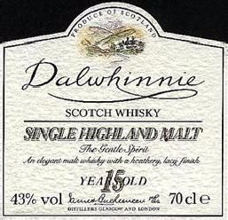 Dalwhinnie 15 years old the label