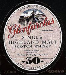 Glenfarclas label Single Highland malt 30 years old