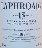 Laphroaig 15 Years old - 43% vol - The label