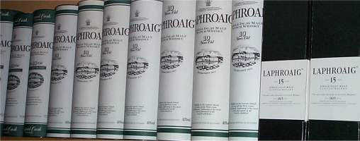 some of our small Collection of Laphoraig pipes