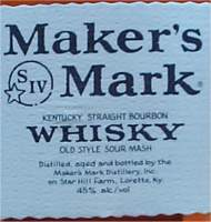 Maker's Mark Kentucky Straight bourbon Whisky - old style sour mash