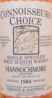 Mannochmore vintage 1984 connoisseurs Choice Gordon Macphail single speyside malt scotch whisky label