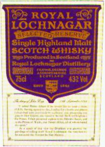 Royal Lochnagar, Scotch Whisky, Single Highland Malt.