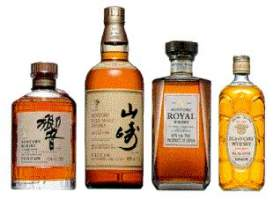 Collection of 4 suntory whisky bottles